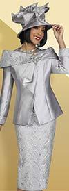 Ben Marc 48411 Two Piece Embellished Womens Skirt Suit With Over-Shoulder Collar Detail Jacket