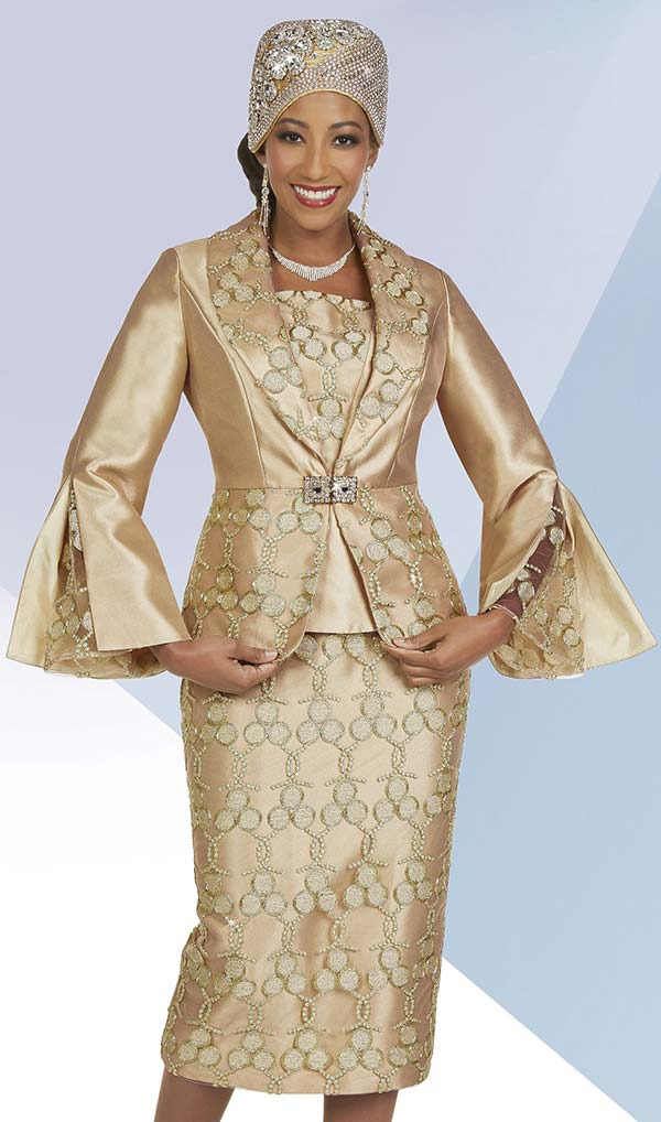 Ben Marc 48412 - Womens Three Piece Skirt Suit With Embroidered Circle Pattern Design