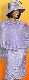 Ben Marc 48413-Lavender - Womens Church Dress In Floral Lace Applique Design With Pleated Cape