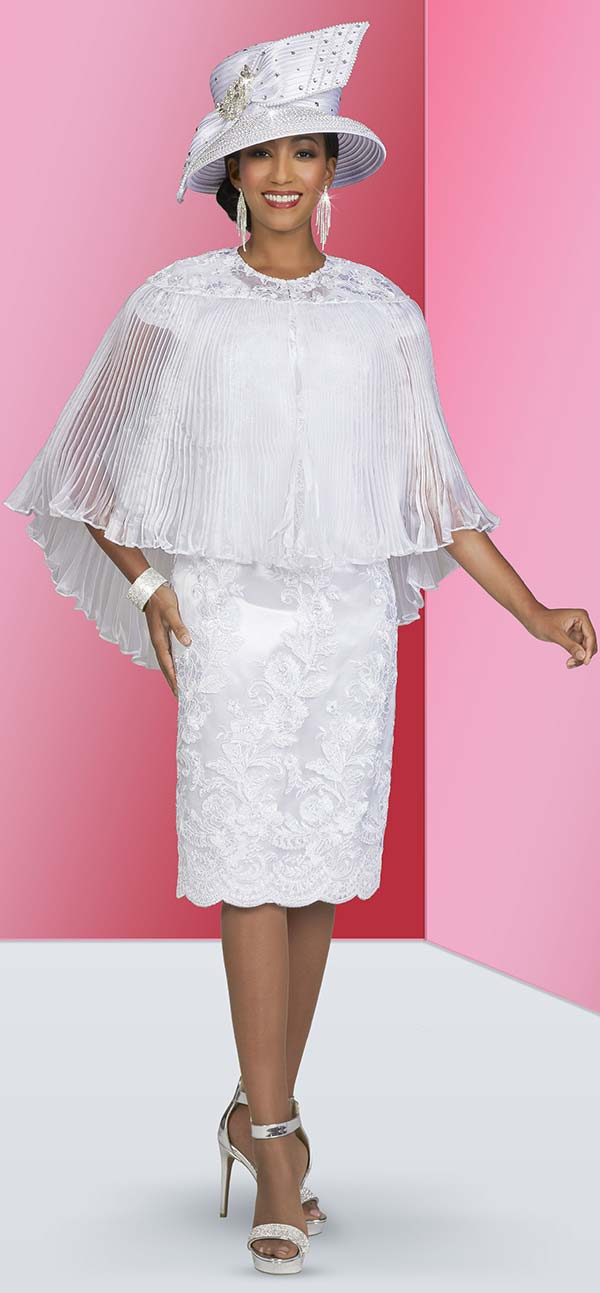 Ben Marc 48413-White - Church Dress In Floral Lace Applique Design With Pleated Cape