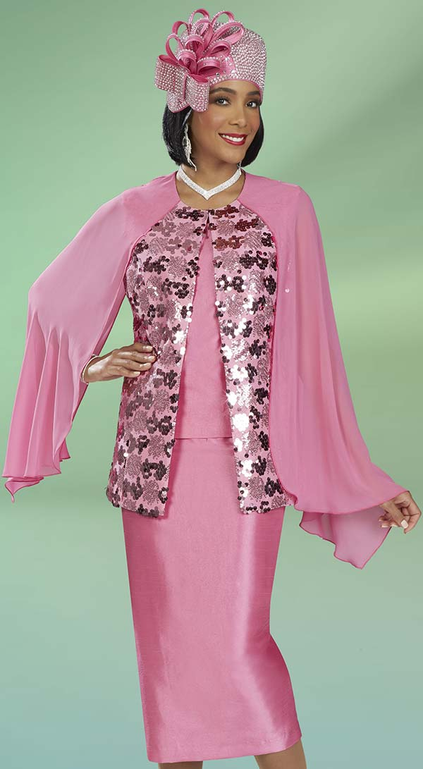 Ben Marc 48416 Womens Church Suit With Cape Sleeve Sequin Embellished Jacket
