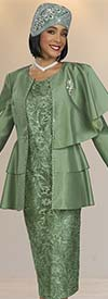 Ben Marc 48420-Sage - Skirt Suit With Floral Pattern Design And Tiered One-Shoulder Cape Jacket