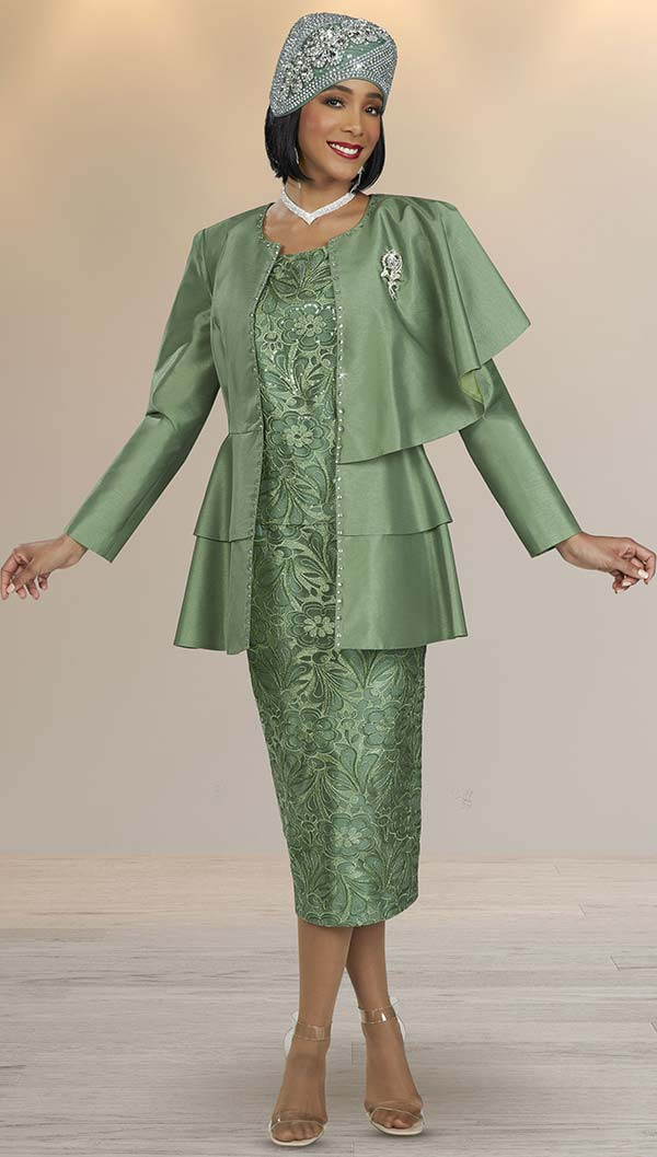 Ben Marc 48420-Sage - Skirt Suit With Floral Pattern Design And Tiered One-Shoulder Cape Jacket