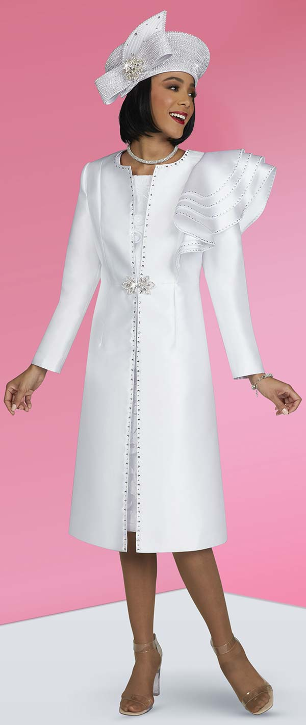 Ben Marc 48421-White - Two Piece Embellished Church Dress With Long Jacket Featuring Shoulder Ruffle
