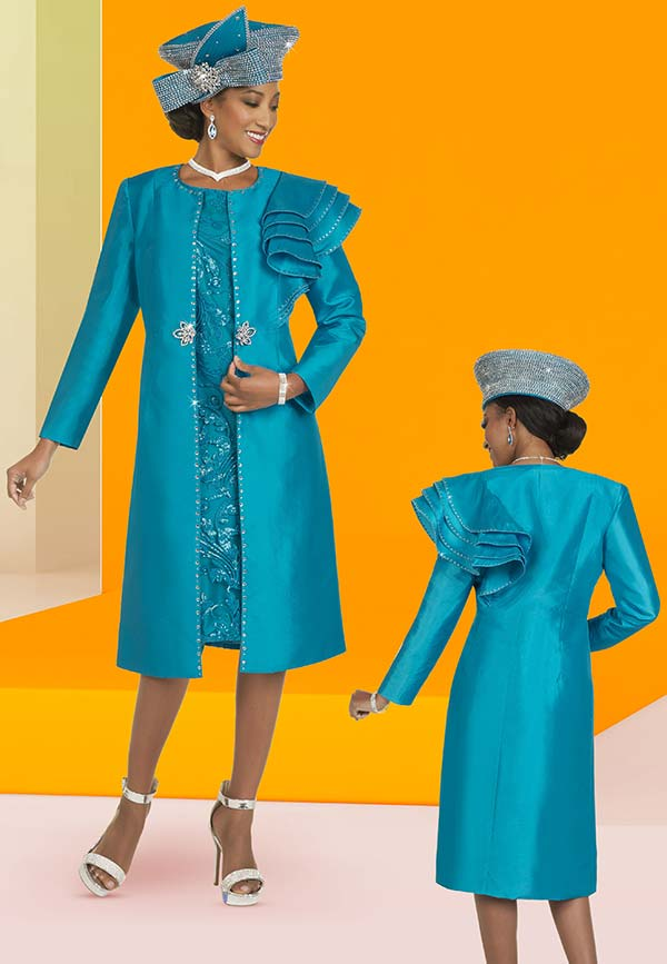 Ben Marc 48421-Turquoise - Two Piece Embellished Church Dress With Long Jacket Featuring Shoulder Ruffle