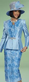 Ben Marc 48422-Blue - Womens Three Piece Skirt Suit With Embroidered Floral Design