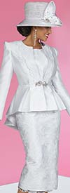 Ben Marc 48422-White - Womens Three Piece Skirt Suit With Embroidered Floral Design