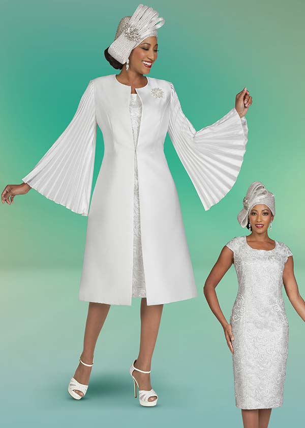 Ben Marc 48425 Ladies Church Dress With Long Jacket Featuring Pleated Sleeve Design