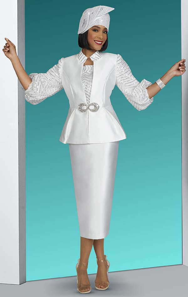 Ben Marc 48426 Three Piece Womens Skirt Suit With Embellished Gathered Cuff Sleeve Jacket