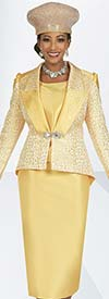 Ben Marc 48427 Three Piece Womens Suit With Asymmetric Hemline Skirt And Brocade Look Pointed Back Jacket