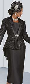 Ben Marc 48428-Black - Three Piece Womens Pleated Back Skirt Suit With High-Low Brocade Look Design Jacket
