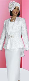 Ben Marc 48428-White - Three Piece Womens Pleated Back Skirt Suit With High-Low Brocade Look Design Jacket