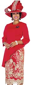 Champagne 5102 Asymmetric Style Peach Skin Fabric Jacket & Metallic Lace Skirt