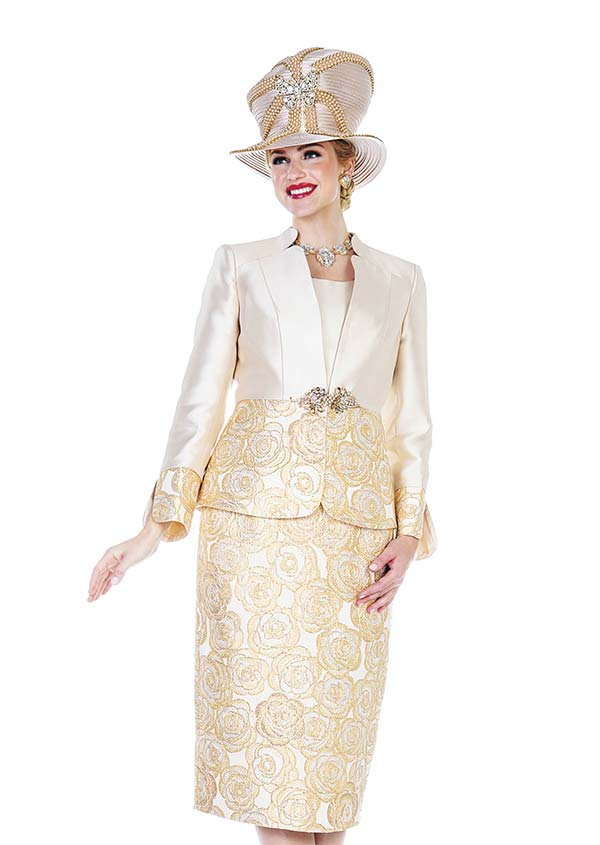 Champagne 5108 Metallic Brocade & Twill Satin Fabric Skirt Set With Star Neckline