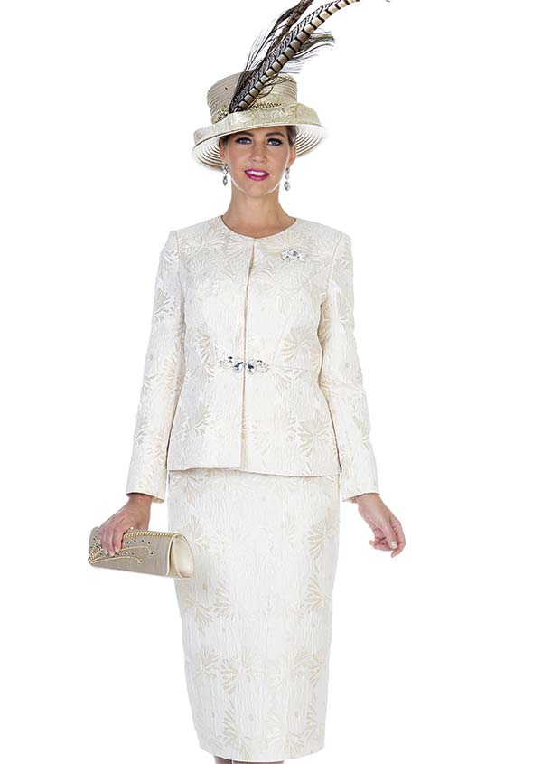 Champagne 5110 Womens Church Suit With Novelty Brocade Fabric