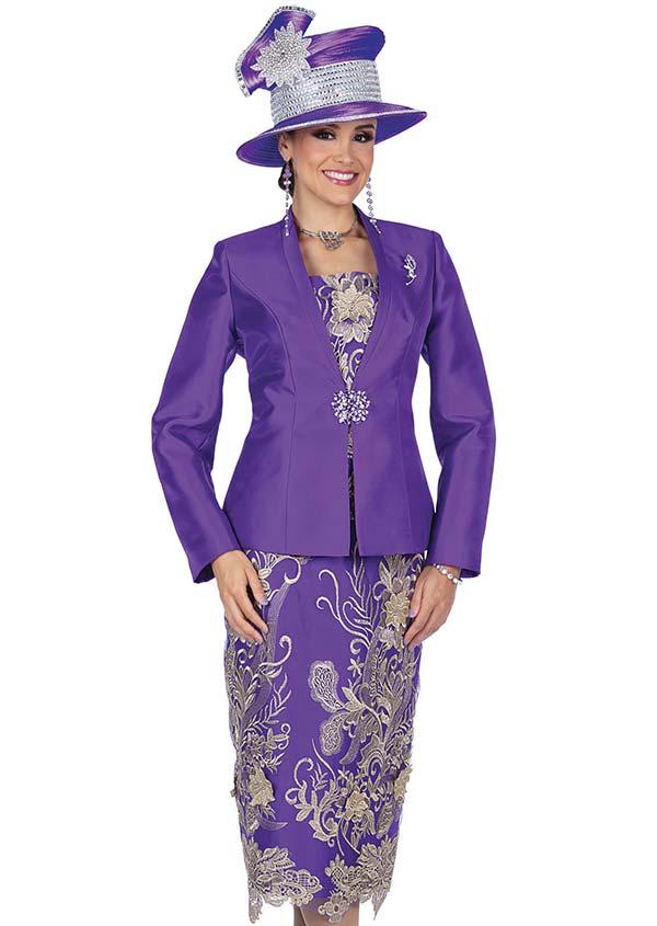 Champagne 5202 Twill Satin Jacket & Metallic Lace Skirt Set