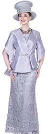 Champagne 5207 Asymmetric Jacket & Long Skirt Set In Twill Satin Lace Fabic