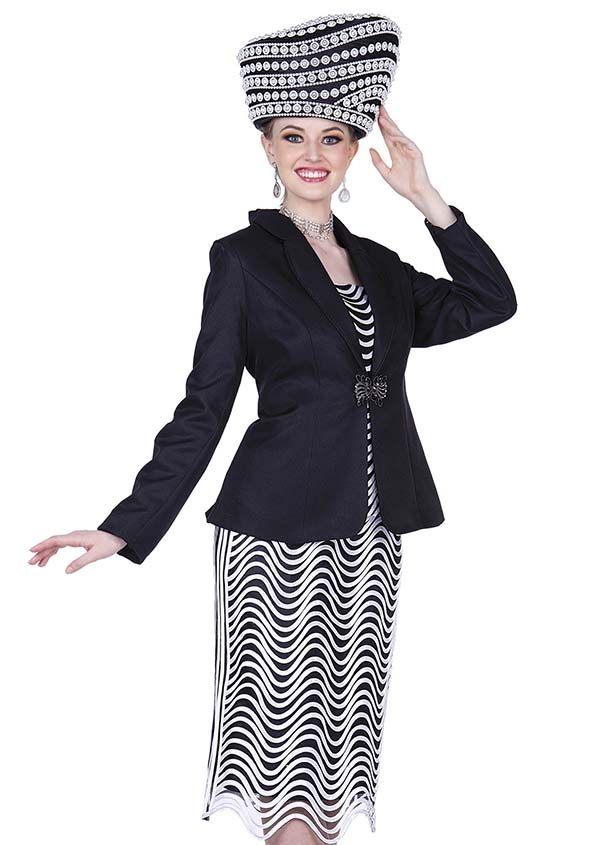 Champagne 5208 Skirt Outfit In Novelty Fabric With Wavy Stripe Design