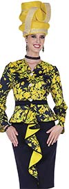 Champagne 5303 Scuba & Special Poly Fabric Design Skirt Set With Printed Jacket