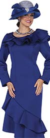 Champagne 5304 Scuba Fabric Dress With Ruffle Trim