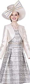 Champagne 5312 Novelty Brocade Fabric Dress With Twill Satin Bolero Jacket