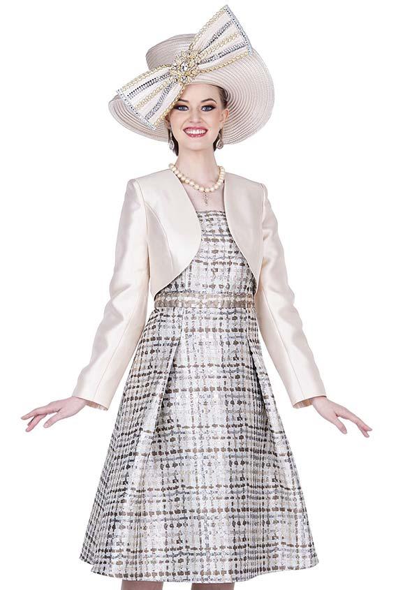 Champagne 5312 Novelty Brocade Fabric Dress With Twill Satin Bolero Jacket