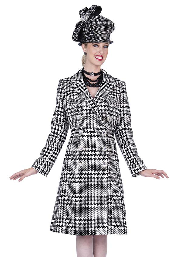 Champagne 5319 Special Poly Knit Fabric Dress / Long Coat In Houndstooth Pattern