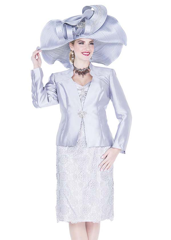 Champagne 5117-Grey - Novelty Lace Fabric Dress With Twill Satin Jacket