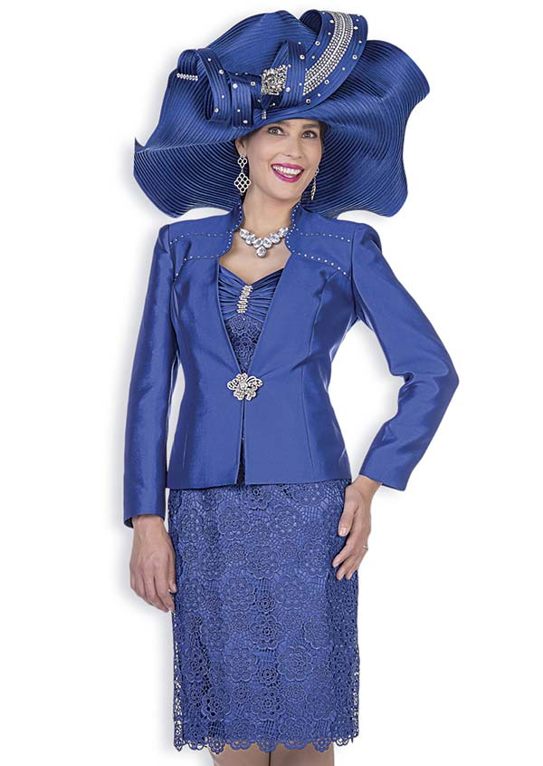 Champagne 5117-Royal - Novelty Lace Fabric Dress With Twill Satin Jacket