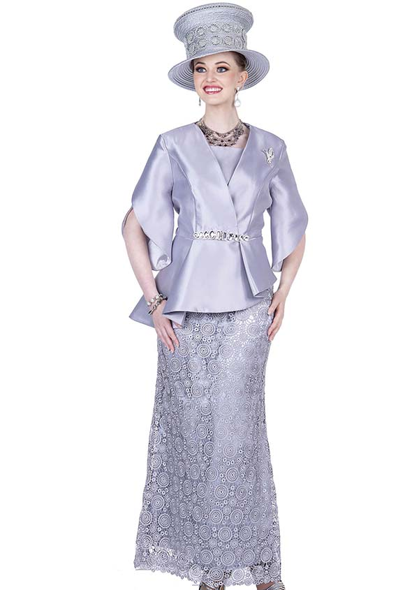 Champagne 5207-Grey -  Asymmetric Jacket & Long Skirt Set In Twill Satin Lace Fabic