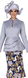 Champagne 5306 Scuba Fabric Swan Neckline Layered Peplum Jacket With Special Poly Print Skirt