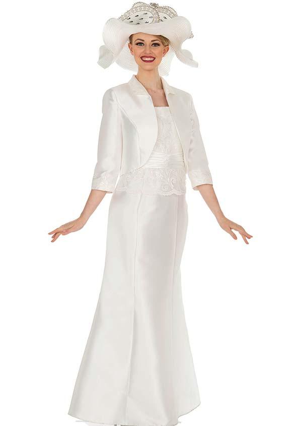 Champagne 5402 Long Twill Satin Flared Dress With Bolero Style Jacket & Lace Bodice