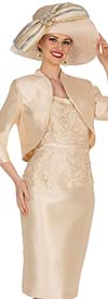 Champagne 5407 Twill Satin Bolero Style Jacket & Lace Accented Dress Set