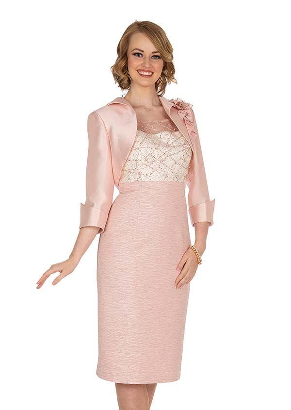 Champagne 5410 Twill Satin Jacket & Metallic Lace Dress Suit