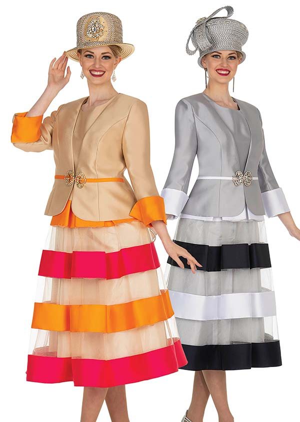 Champagne 5005 - Ladies Layered Church Dress With Satin Twill Jacket