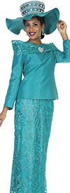 Champagne 5111 Twill Satin Jacket & Lace Fabric Skirt Set