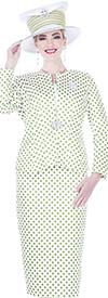Champagne 5201 Novelty Brocade Fabric Polka Dot Print Skirt Suit