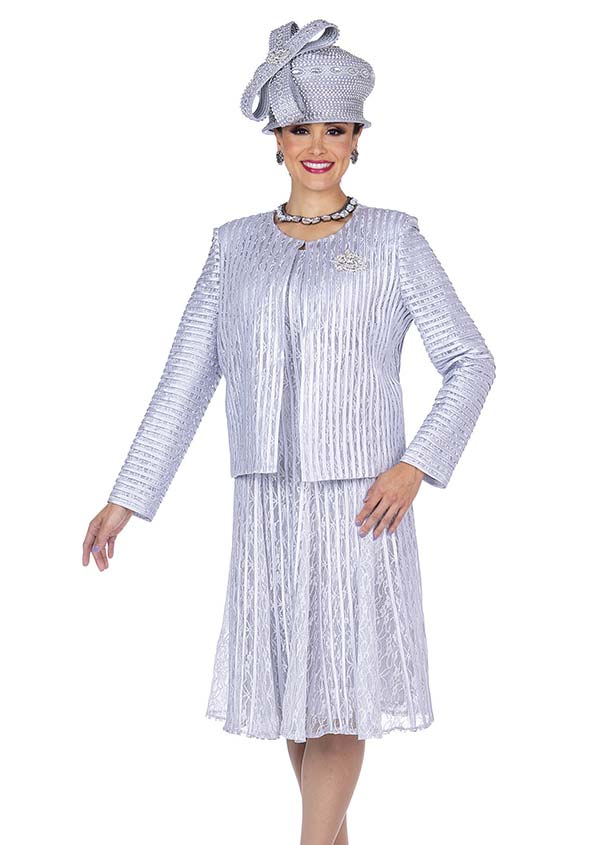 Champagne 5210 Striped Texture Specialty Fabric Dress & Jacket Set