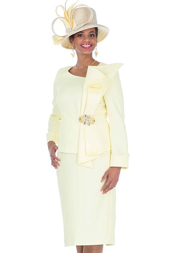 Champagne 5271 Vertical Bow Adorned Jacket & Skirt Suit