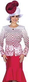 Champagne 5302 Polka Dot & Floral Print Design Flounce Skirt Suit