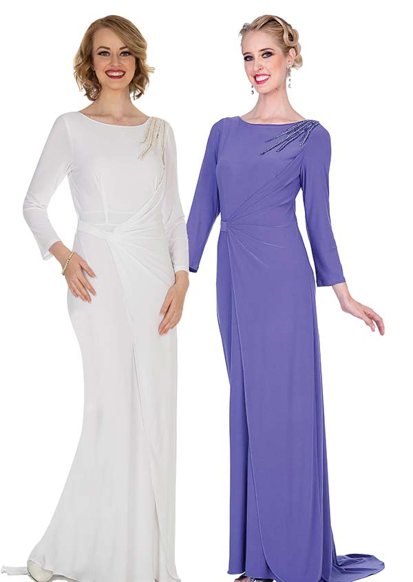 Champagne 5373 Crepe Chiffon Fabric Dress With Wrap Look & Shoulder Embellishment
