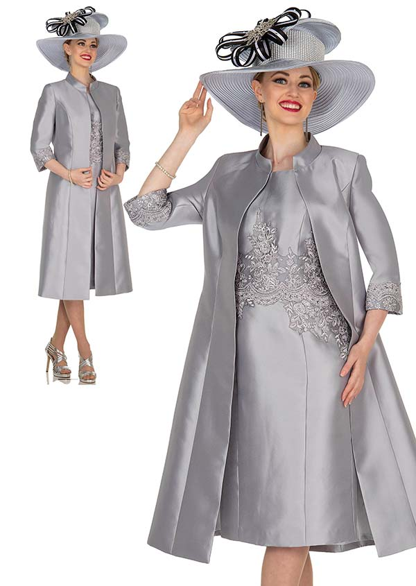 Champagne 5406 Long Twill Satin Jacket & Dress Set With Lace Accents