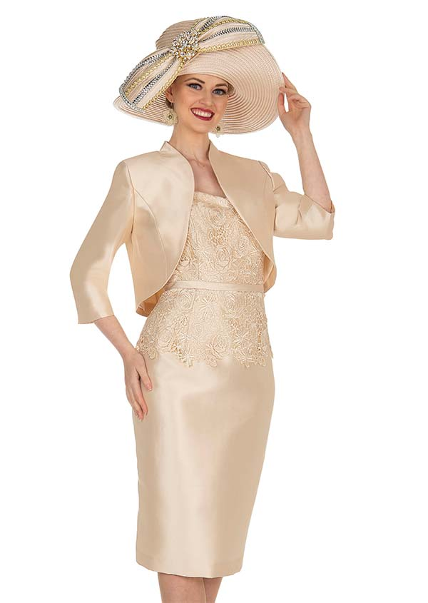 Champagne 5407 Twill Satin Bolero Style Jacket & Lace Accented Dress Set