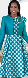 Chancele 4637-PolkaDot - Dress Suit With Detachable Bow On Solid Jacket