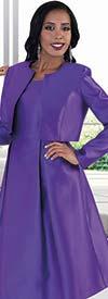 Chancele 4637-Purple - Dress Suit With Detachable Bow On Solid Jacket