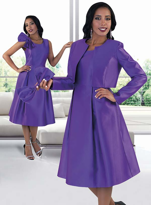 Chancele 4637-Purple - Dress Suit With Detachable Bow On Solid Jacket