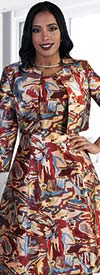 Chancele 9477 Abstract Print Dress With Bolero Jacket