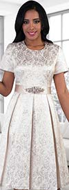 Chancele 9478 Brocade Pattern Pleated Dress With Rhinestone Waist Detail