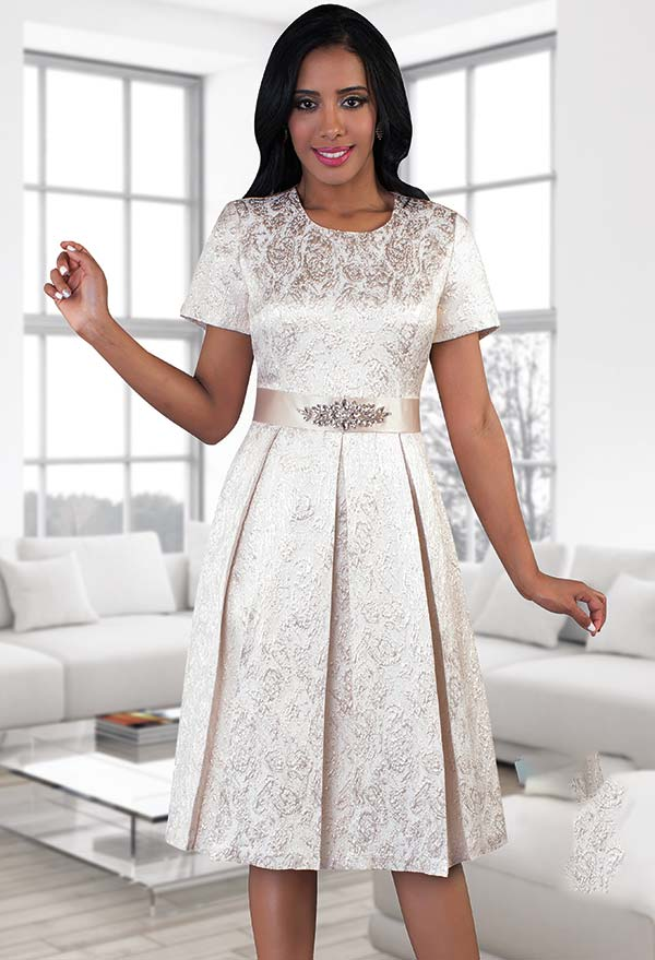 Chancele 9478 Brocade Pattern Pleated Dress With Rhinestone Waist Detail