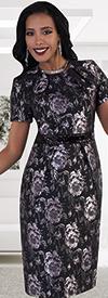 Chancele 9480 Floral Print Dress With Sequin Waist Details